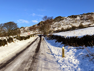 Icy And Snowy Roads Leaving Curbar Village