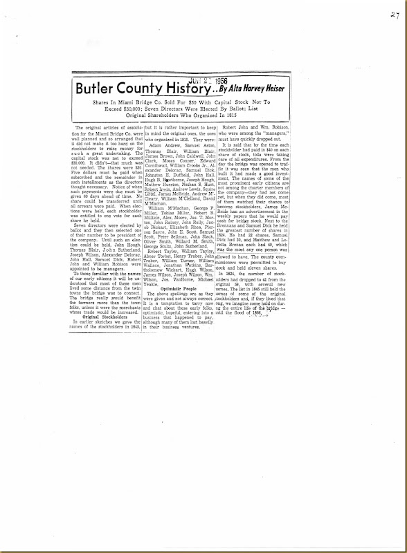 Robert Irwin stockholder in 1815 Butler Co, OH_0001