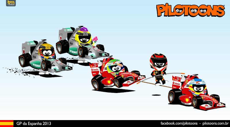 комикс pilotoons по Гран-при Испании 2013
