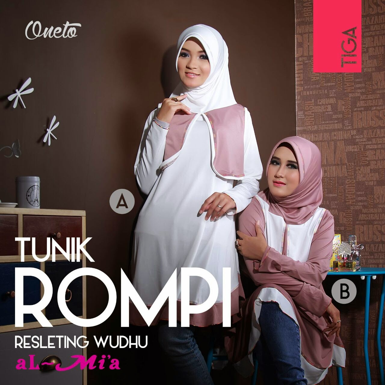 Jilbab oneto tunik bergo original by almia supplier Baju gamis almia terbaru