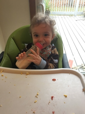 The Only Time I Seem To Get A Still Shot Of This One Is In His High Chair He Loves Baba So Much Eggs Fruit Eh Not