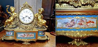 Красивые каминные часы Париж ок.1860 г. Бронза, позолота, фарфор, ручная роспись. 38/12/29 см. 2500 евро.