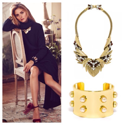 Olivia Palermo Jewelry Collection for BaubleBar Firebird Collar and Pearl Stud Cuff