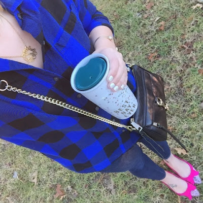 boyfriend plaid shirt, glitter flats, but first coffee