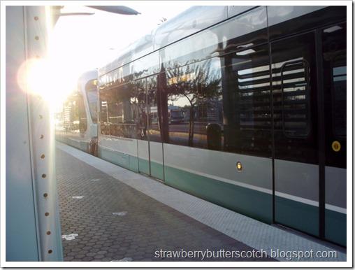 Departing Light Rail Train