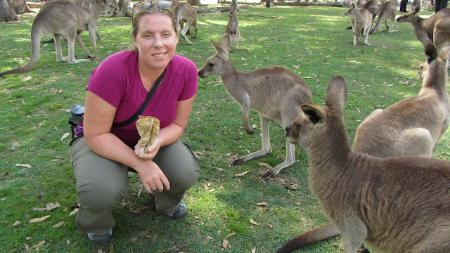 Heather with the roos.