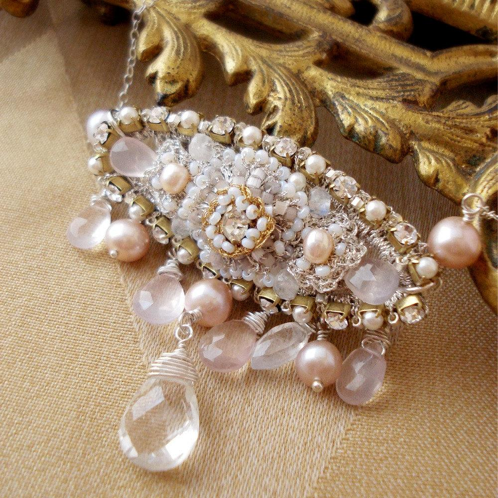 Bridal Bib Necklace- Blush