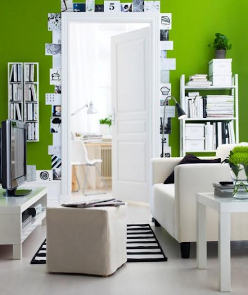 ikea wohnzimmer design mit frisch grüner wandfarbe