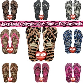 novos slim top animals animal print havaianas 2016