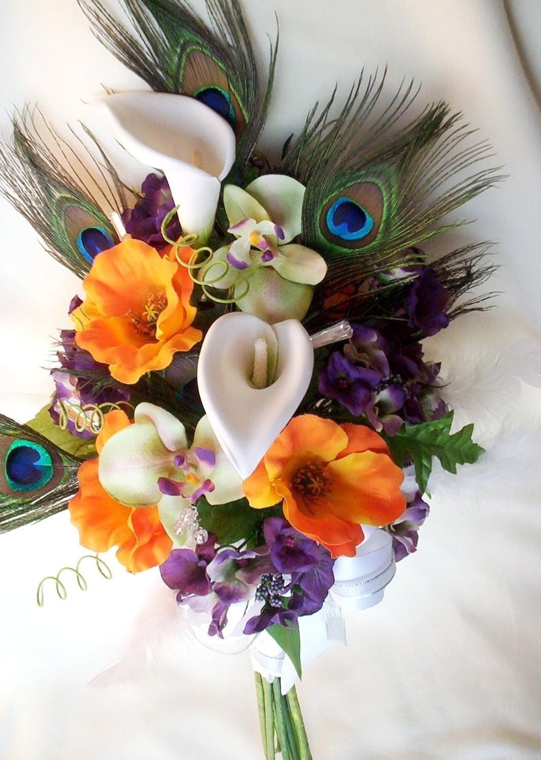 Peacock Wedding Bridal Bouquet