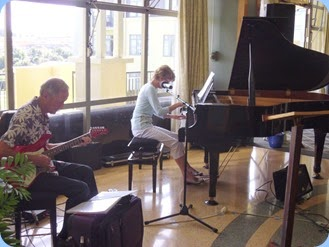 Denise and Brian Gunson played for us. Brian with his G&L electric guitar and Denise on the Kawai mini-grand piano.