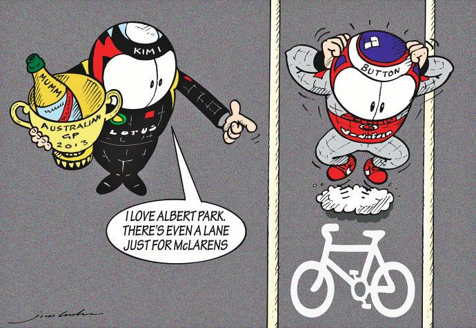Кими Райкконен любит Альберт-Парк - комикс Jim Bamber по Гран-при Австралии 2013