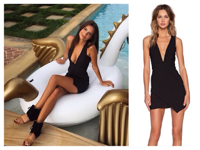 Emily Ratajkowski Emrata Instagram on Swan in Black Low Front Mini Dress for Revolve Clothing