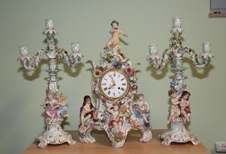 """Часовой гарнитур """"Времена года"""". 19-й век. Мейсон. Высота 55 см. 15000 евро"""