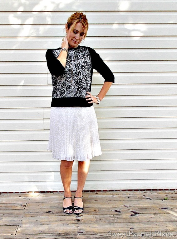 cream chiffom pleated skirt, lace front sweater, black sandals1