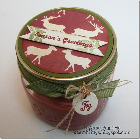 LeAnne Pugliese WeeInklings Christmas Deer Jar Candle