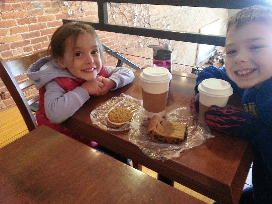 Kids and goodies at Delanie's Coffee
