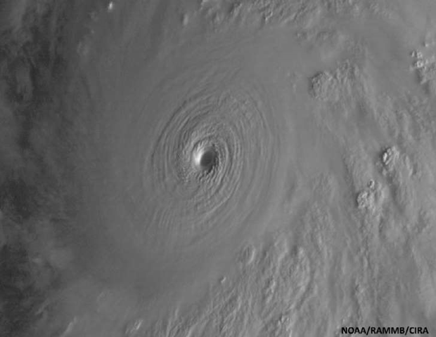 View of the eye of Hurricane Patricia from space on Friday, 23 October 2015, released by the National Oceanic and Atmospheric Administration. Hurricane Patricia headed toward southwestern Mexico Friday as a monster Category 5 storm, the strongest ever in the Western Hemisphere that forecasters said could make a 'potentially catastrophic landfall' later in the day. Photo: NOAA / RAMMB / CIRA