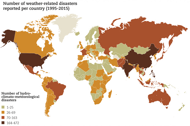 Number of weather-related disasters reported per country (1995-2015). Between 1995 and 2015, EM-DAT recorded 6,457 weather-related disasters, which claimed a total of 606,000 lives and affected more than 4 billion people. On average, 205 million people were affected by such disasters each year. Asia bore the brunt of weather-related disasters, with more frequent events and greater numbers of people killed and affected than any other continent. Graphic:  CRED / UNISDR