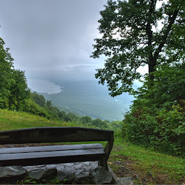 Honeoye Lake Overlook by Cal Brown - City,  Street & Park  Vistas ( honeoye lake, hills, park, vista, state park, valley, new york, finger lakes )