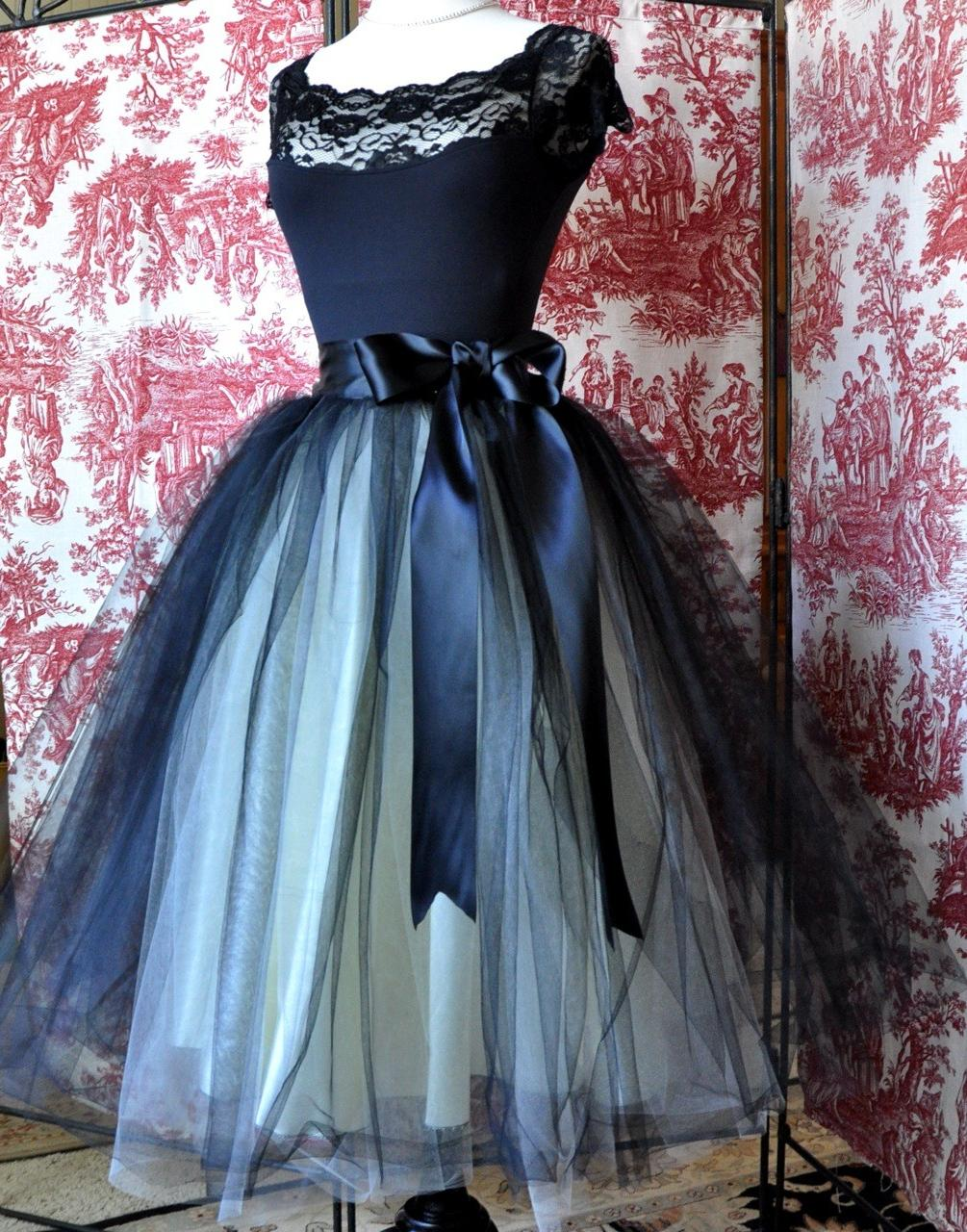 Black and ivory lined tulle