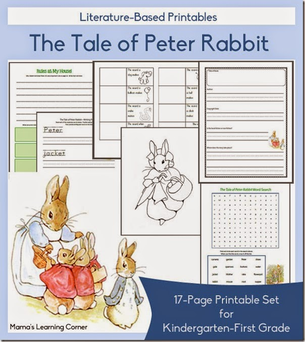 FREE Tale of Peter Rabbit Worksheets for Kindergarten and 1st grade homeschoolers.