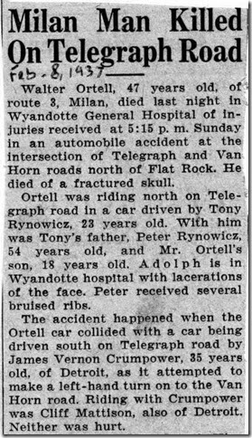 ORTELL_Walter_newspaper article about car accident that caused his death_7 Feb 1937_MonroeEveningNews