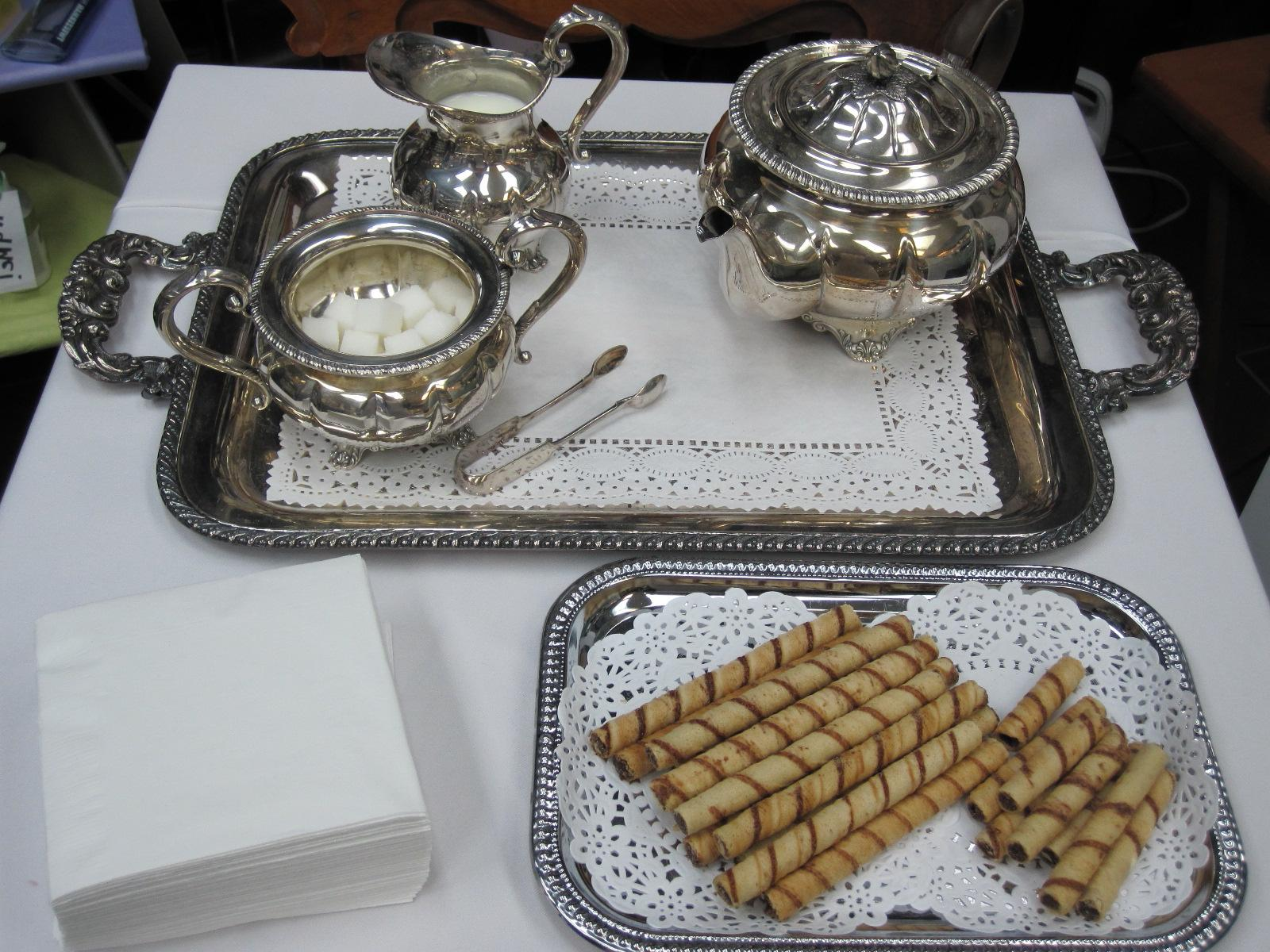 silver tea service.