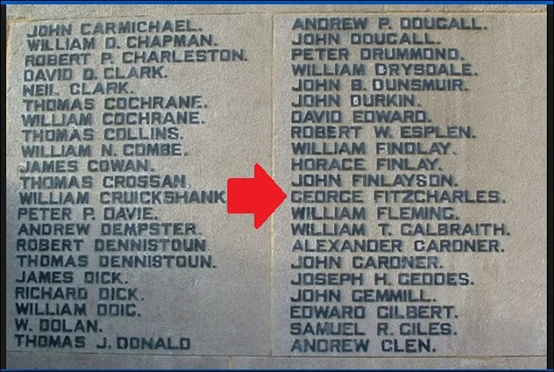 FITZCHARLES_George_name on Grangemouth memorial_annotated