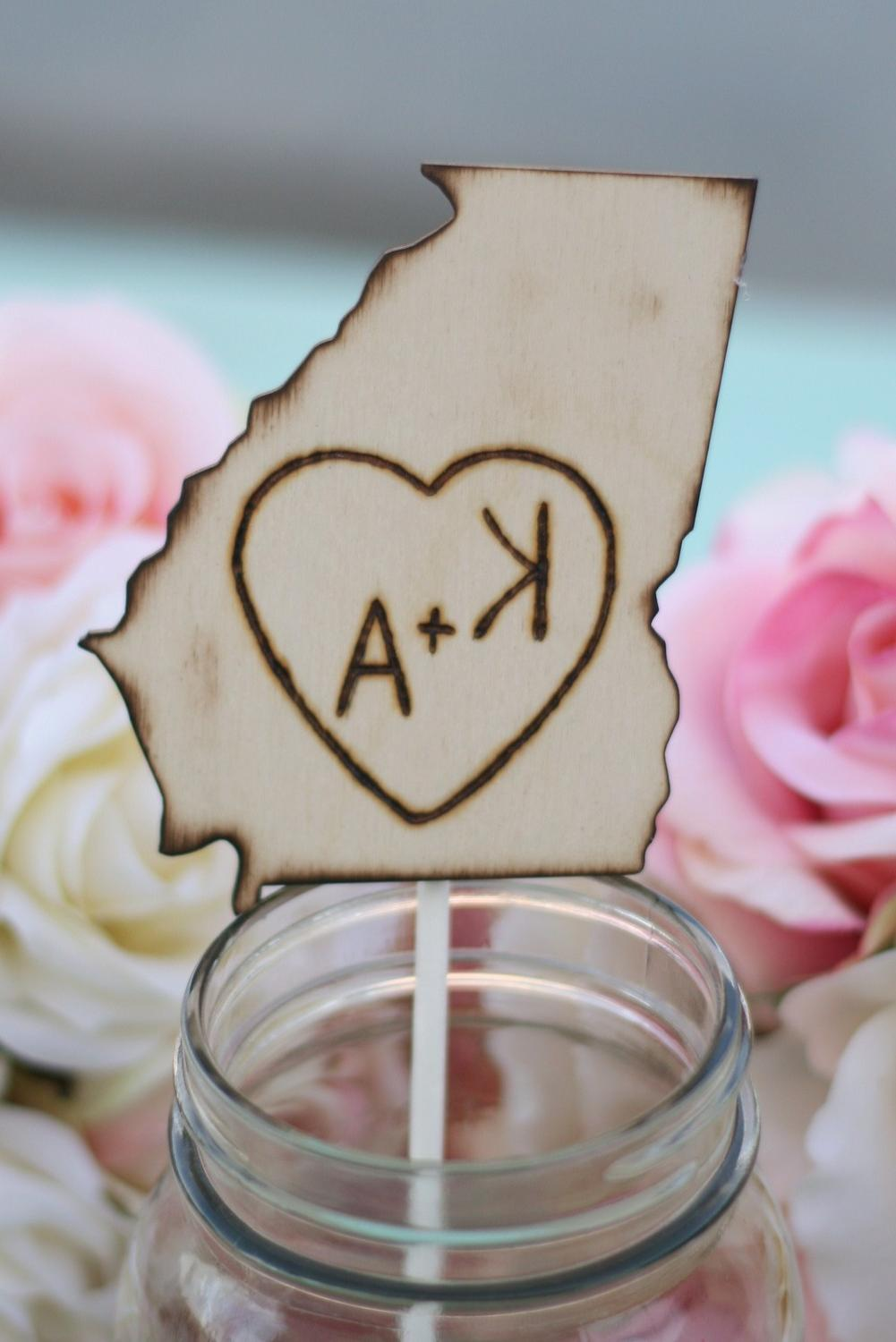 Cake Topper Engraved Wood State Rustic Wedding. From braggingbags