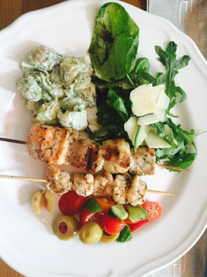 Grilled fish skewer, potato salad