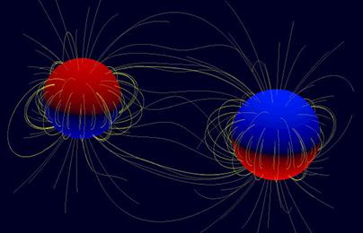 ilustração da polaridade do campo magnético na superfície das estrelas