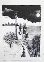 Dej BAO. 005 . Un Chemin dans la Pierre . 1975 . Lithographie . 36,5 x 55cm