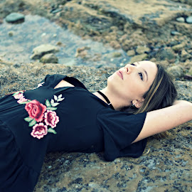 Dreaming by Elaine Maskell - Novices Only Portraits & People ( dreaming, water, peaceful, beach, rocks )