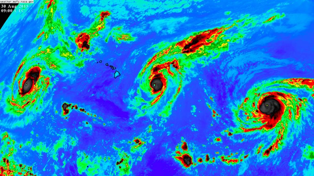 Satellite view of three Category 4 hurricanes in the Pacific, on 30 August 2015: Kilo (left), Ignacio (center) and Jimena (right). Photo: NASA