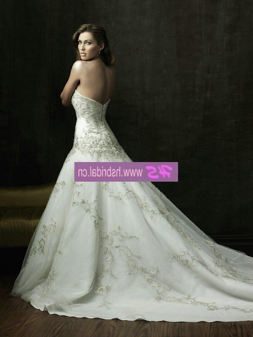 A-line Free Shipping Strapless Satin Over Lace Wedding Gown 2011 YCWD68