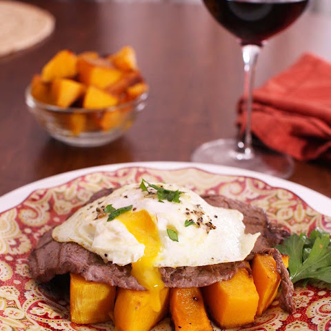 Steak with Fried Egg over Roasted Butternut Squash For One