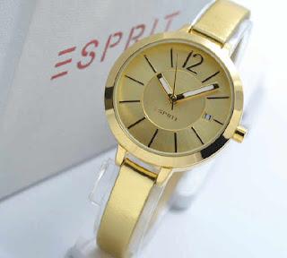 jam tangan Esprit date full gold leather