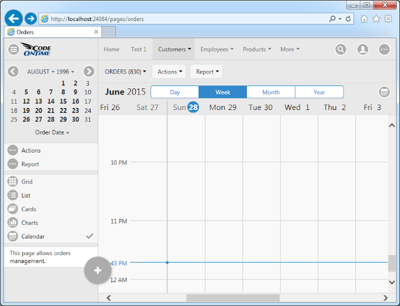 Week mode of Calendar view style in Touch UI