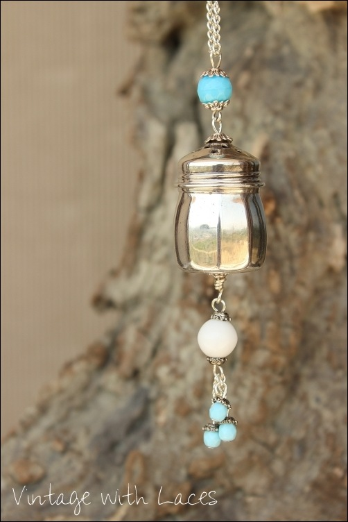 Silver Salt Shaker turned into pendant by Vintage with Laces
