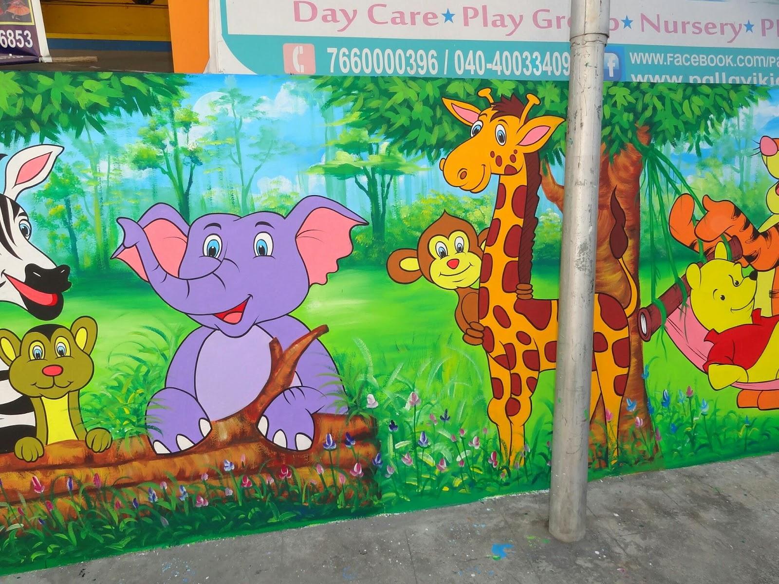 play school cartoon painting all over India Pallavi Kidz