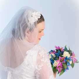 The Shy Bride by Jacqui Mays - Wedding Bride ( studio, bouquet, bridal, female, dress, wedding, woman, flowers )