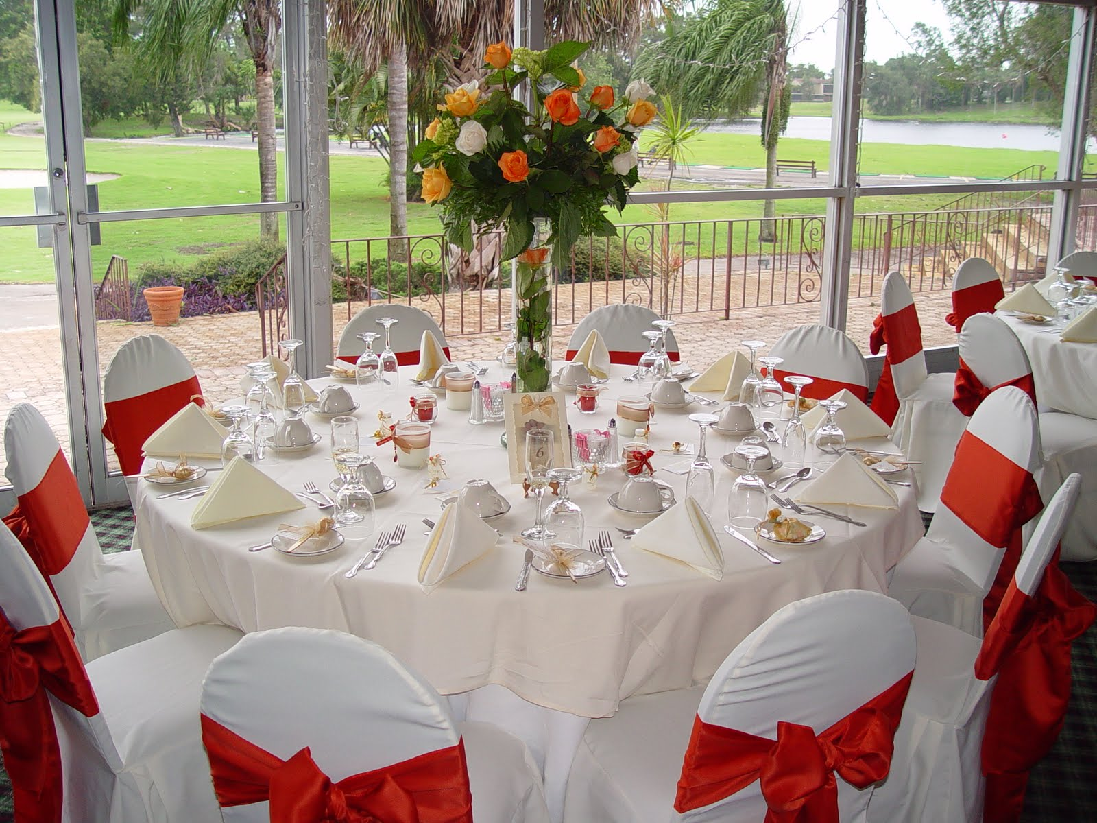 fall wedding centerpieces on a