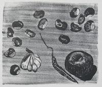 Dej BAO. 009 . Un Chemin dans la Pierre . 1975 .Lithographie . 27,5 x 36,5 cm
