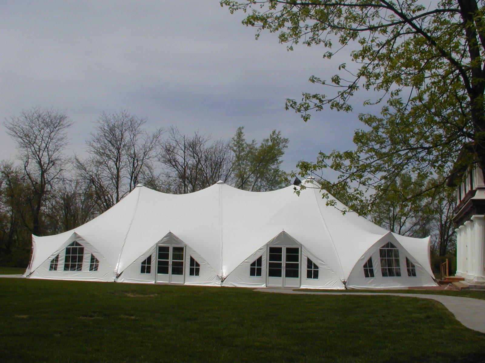 wedding tent blue silver