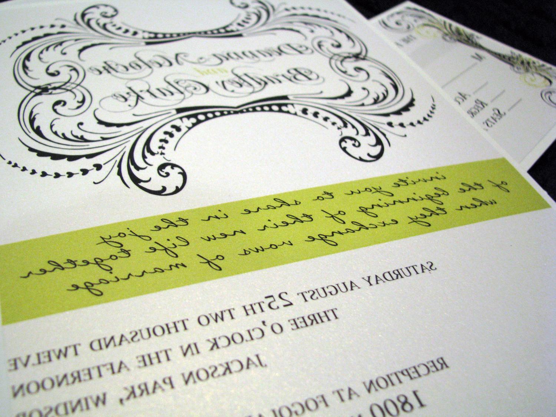 CUSTOM LISTING FOR lolasmamma - Lime and Black: Wedding Invitation