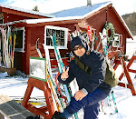 My friend Mason Callejas putting on his cross-country skis, at Whitegrass, in Davis, West Virginia, December 2008.