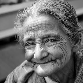 An Elderly Smile by Rahat Amin - People Portraits of Women ( elder, expression, face, old, bnw. bw, black and white, woman, nikon, people, d5100, portrait )