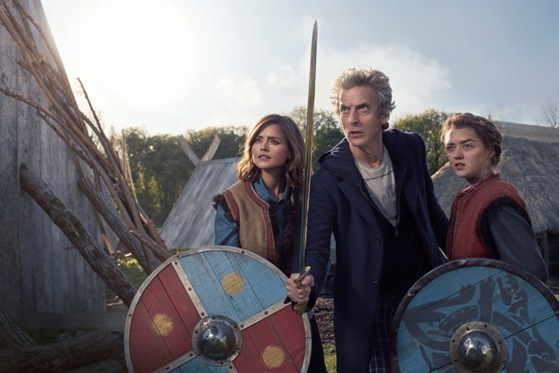 Clara The Doctor and Ashildr in Doctor Who - The Girl Who Died