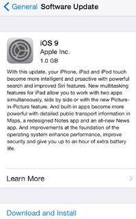 Apple iOS 9 software update